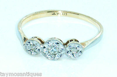 18k 18ct solid gold and platinum diamond trilogy ring size I