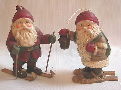 2 Christmas TOMPTE Ornaments Skiing Snowshoeing  Jul Nisse Elves Bethany Lowe