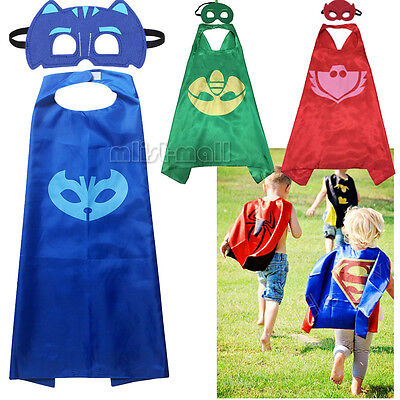 3 Set Superhero PJ Masks Kids Cape & Mask Costume Party Set Gekko Owlette Catboy