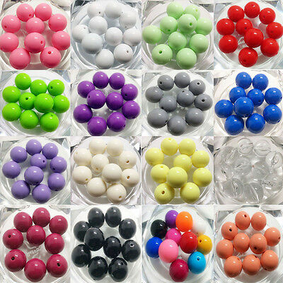 100Pcs 8/10mm DIY Acrylic Round Pearl Spacer Loose Beads Jewelry Making 21 Color