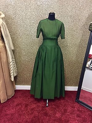Stunning True Vintage Late 40's Early 50's Green Evening Dress