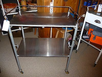 Vintage Stainless Steel Industrial Surgical Hospital Side/Drinks Table Trolley