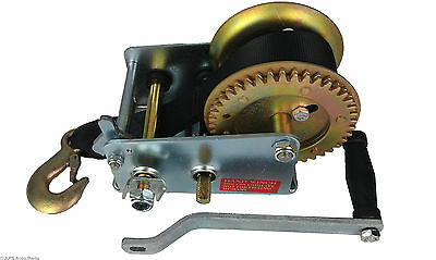 Manual Hand Winch 2000lbs Trailer Boat Caravan 6m 19ft Length Strap Marine Pull