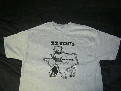 """ZZ TOP Takin Texas To The People """"Barbwire"""" T SHIRT GRAY"""