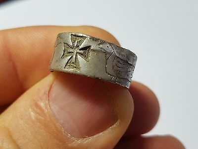 EARLY CHRISTIAN SILVER RING DOVES AND CROSS -MARRIAGE RING 8th,9th Century AD