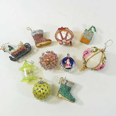 Lot of 10 Vtg Christmas Ornaments - Beaded, Sequins, Jeweled, Diorama, Sleigh