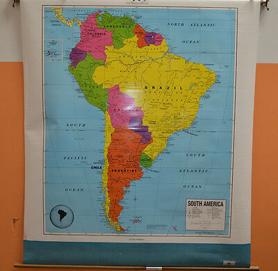 USED Cram Co. South America Political Map PULLDOWN CLASSROOM MAP 7930-6503