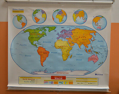 USED Nystrom School Pull Down Markable Map of WORLD & UNITED STATES Model 1ELS99