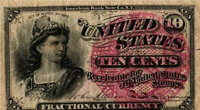 1869-75 10 CENT U.S. Fractional Note 4th Issue LIBERTY FR#1257  VF Circulated