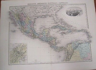 c 1870 FRENCH Hand colored MAP of MEXICO & CENTRAL AMERICA & WEST INDIES  *