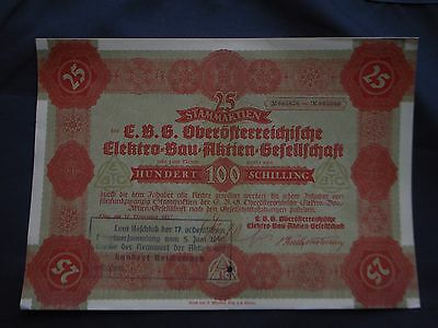 Lot. 5 x Nazi GERMAN occupied AUSTRIA Share Certificate 100 Schilling 1937-1940