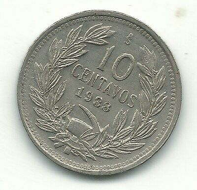 High Grade Au/unc 1938/3 S Chile 10 Centavos Coin-Defiant Condor On Rock-Dec478