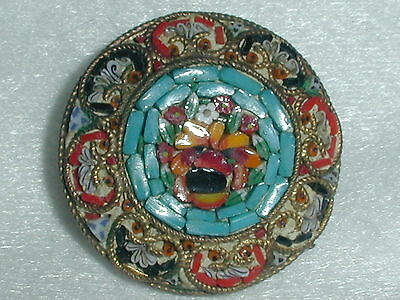 Micro Mosaic Old Brass Brooch- Made In Italy!
