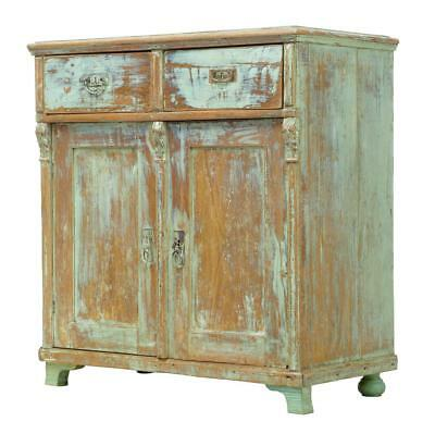 19Th Century Painted Swedish Pine Cupboard Cabinet