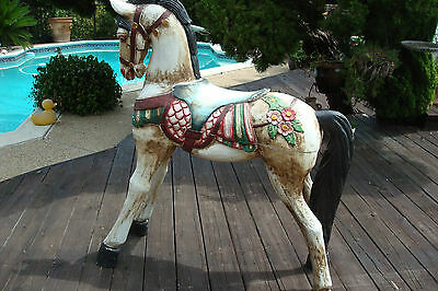Vintage Large Wood Hand Carved Carousel Horse
