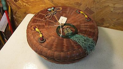Antique Chinese Sewing Basket Glass Beads Brass Coins  No. 42
