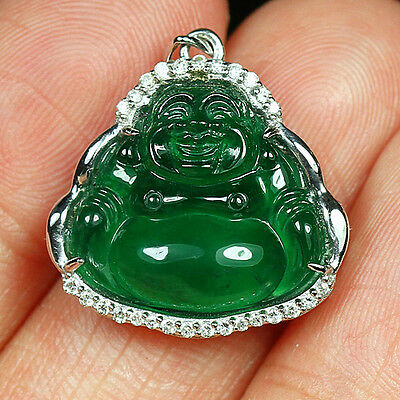 16.1CT 100% Natural Diamonds Grade A Jadeite Jade Carving Buddha Pendant YCDZ11