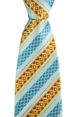 "New BRIONI Italy Light Blue Deco Striped 3.25"" Silk Handmade Neck Tie NWT"