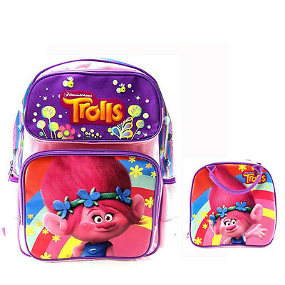 New Dreamworks Trolls Poppy Pink Backpack & Lunch Box / Bag School Supplies