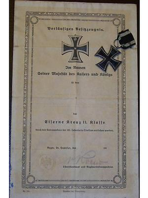GErmany WW1 Iron Cross KO EK2 w DIPLOMA Decoration Military Merit War 1914 1918