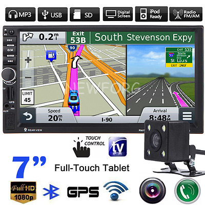 GPS Navigation Double 2DIN Bluetooth FM Radio Car MP3 Player USB/TF/AUX + Camera