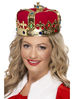Queen's Jewlled Crown Medieval Royalty Halloween Fancy Dress Costume Accessory