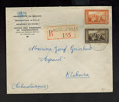 1938 Monaco Registered Cover to Czechoslovakia Ministery of Finance # 124 127