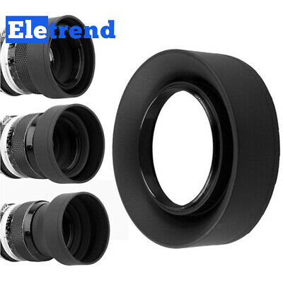 72mm 3-Stage Collapsible 3in1 Rubber Lens Hood for Canon Nikon Pentax Camera