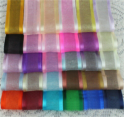 50 Yards/Roll Organza Sheer Ribbon 25mm Hair Bow Wedding Dress Craft 19 Colors