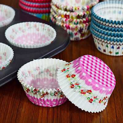 100x Paper Cake Cup Cupcake Muffin Baking Case Greaseproof Dessert Baking Cups
