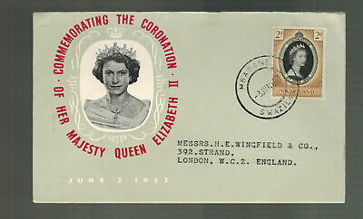 1953 Swaziland Coronation to England first day cover QE2 Queen Elizabeth II  FDC
