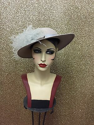 Stunning Peter Bettley Grey Felt Wide Brim Occasion Hat With Feathers