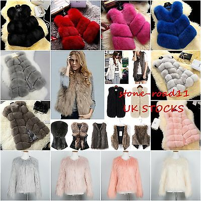 Women Faux Fur Gilet Vest Waistcoat Warm Wrap Shrug Jacket Coat Outwear Overcoat