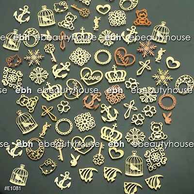 200 Pcs 3D Metal Nail Art Tips Stickers Decal Golden Slices Decoration #E1081