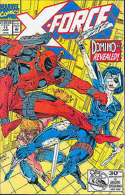 X-Force # 11 (3rd appearance Deadpool, 1st full Domino app.) (USA, 1992)