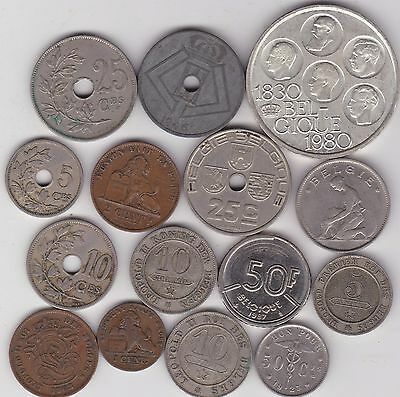 15 Mixed Belgium Base Metal Coins 1861 To 1987 In Fine To Very Fine Condition