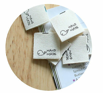 6 x Whale Labels / HAND MADE Labels / Sew on craft fabric Labels (La399)