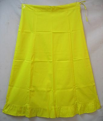 Yellow Pure Cotton Frill Petticoat Skirt Sari Saree all time pictures US #DD5NW
