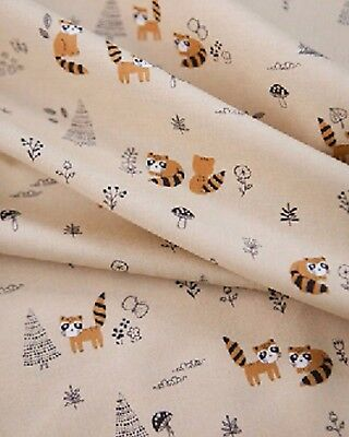 Raccoon Beige 100% Cotton Fabric / All sizes / Quilting fabric cut (ff302)