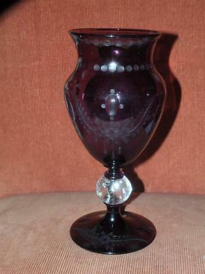 Antique Art Glass Pairpoint Controlled Bubble Ball Dewdrop Purple Vase