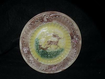 """Antique Majolica Pottery Deer And Dog Plate 9 3/8"""""""
