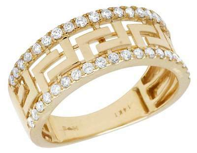 14K Yellow Gold Greek Key Men's Real Diamond Band Ring 9MM .75ct