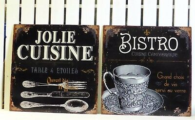 Pair Food Signs French Shabby Chic Jolie Cuisine Bistro Cafe Bistro Plaques