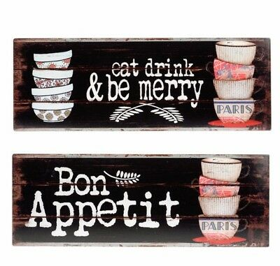 Pair Food Signs French Shabby Chic Bon Appetit Eat Drink Be Merry Wall Plaques
