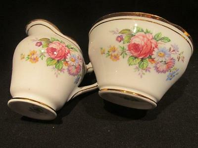Salisbury Bone China Vintage Cream & Sugar Shabby Floral #172 Made in England
