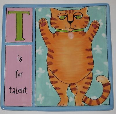 """T is for TALENT Ceramic 9 3/4"""" Square WALL PLAQUE w/Ginger CAT by URSULA DODGE"""