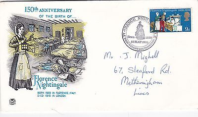 GB 1970 150th anniversary of Florence Nightingale birth VGC  FDC