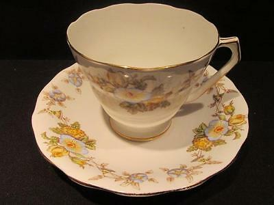 Mayfair Radfords Fenton Vintage Bone China Tea Cup & Saucer Blue Yellow Floral