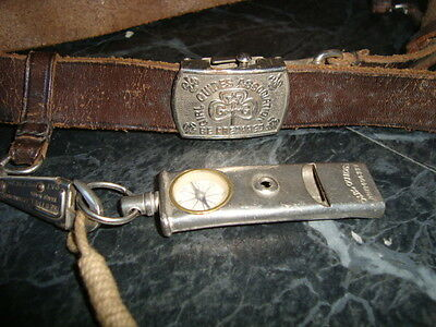 """EARLY 20THC """"GIRL GUIDES COMPASS Whistle"""" AND BELT working compass 1908?"""