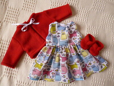 BJB dolls clothes Cute kittens dress red jacket booties 3 pcs fit baby born doll